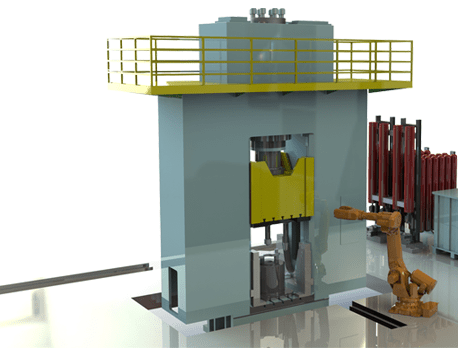 Hydraulic upsetting and piercing press